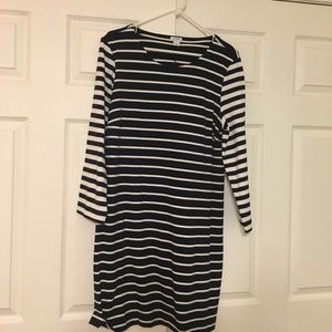 J. Crew blue and white striped long sleeved dress
